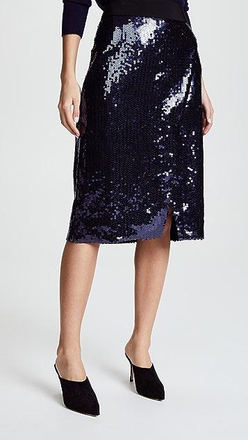 Victoria Victoria Beckham Front Split Skirt - Navy
