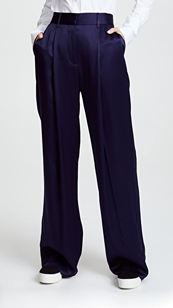 Victoria Victoria Beckham Front Pleat Pants - Navy