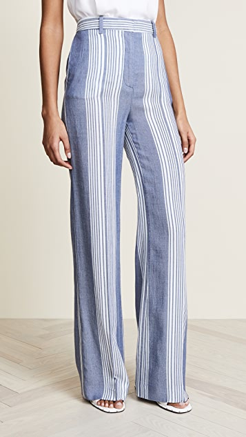 Victoria Victoria Beckham Wide Leg Trousers - Chambray Stripe