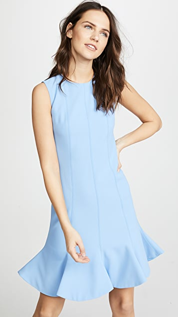Victoria Victoria Beckham Flounce Hem Shift Dress - Lagoon Blue