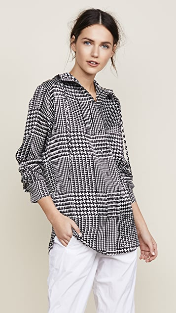 Victoria Victoria Beckham Hooded Shirt - Black Houndstooth