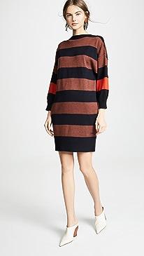 V Back Striped Dress