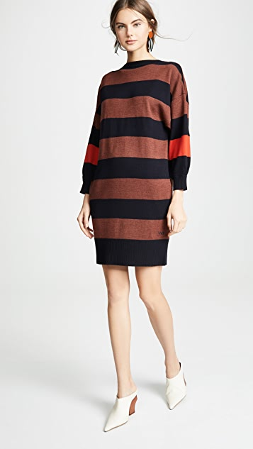 Victoria Victoria Beckham Платье в полоску с V-образным вырезом на спине