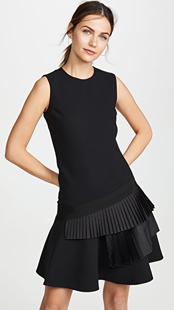 Victoria Victoria Beckham Asymmetric Pleat Dress - Black