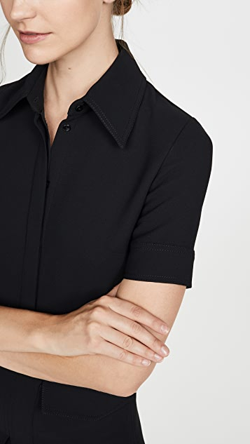Victoria Victoria Beckham Платье с короткими рукавами и карманом