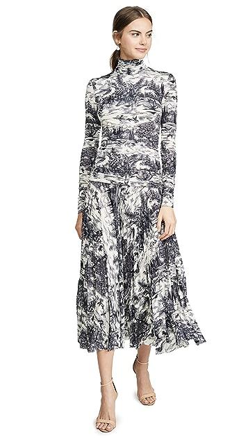 Victoria Victoria Beckham Forest Print Pleated Dress