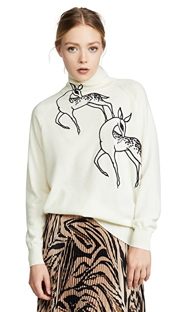 Victoria Victoria Beckham Funnel Neck Deer Embroidered Sweater