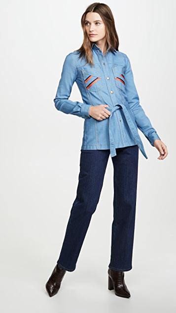 Victoria Victoria Beckham Belted Embroidered Shirt