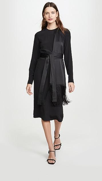 Victoria Victoria Beckham Платье с бахромой и шарфом