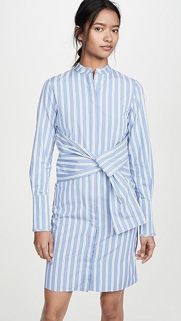 Victoria Victoria Beckham Striped Shirt Dress with Tie