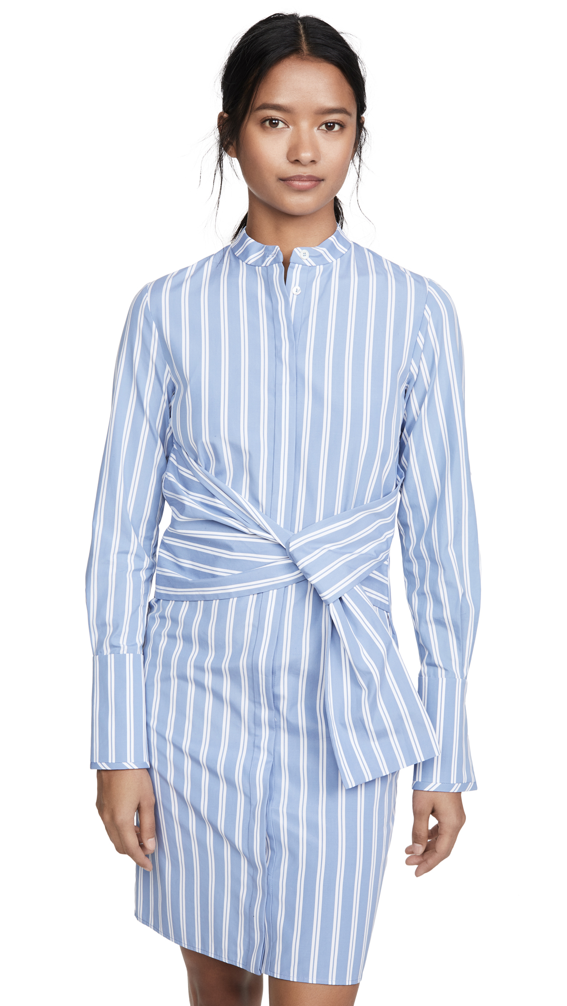 Victoria Victoria Beckham Striped Shirt Dress with Tie