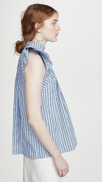 Victoria Victoria Beckham Ruched Shoulder Sleeveless Top