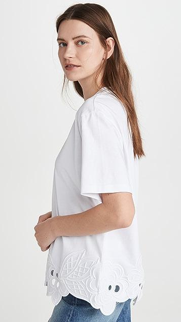 Victoria Victoria Beckham Embroidered Hem T-Shirt