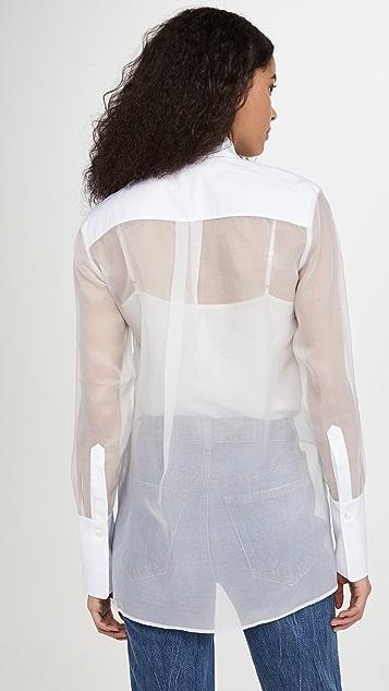 Victoria Victoria Beckham Bib Detail Sheer Shirt