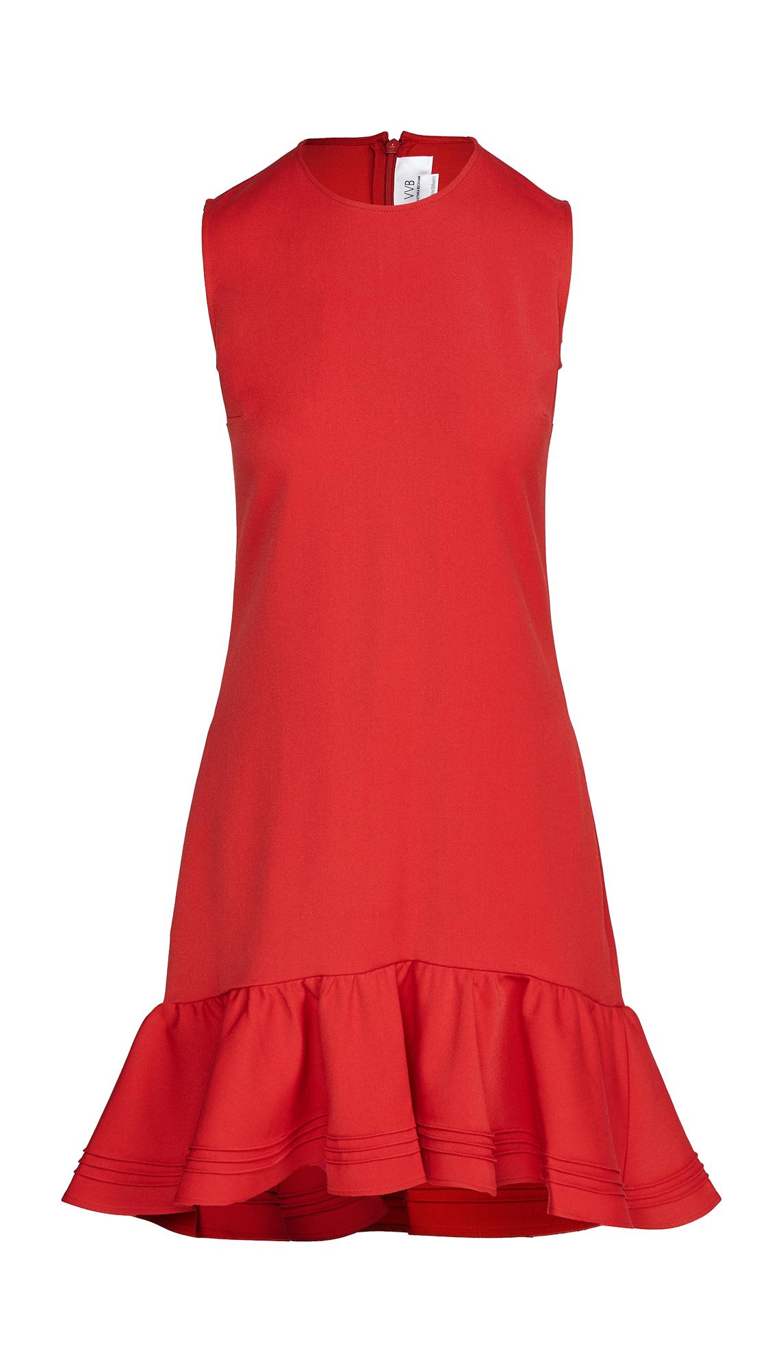 Victoria Victoria Beckham Pintuck Flounce Hem Shift Dress