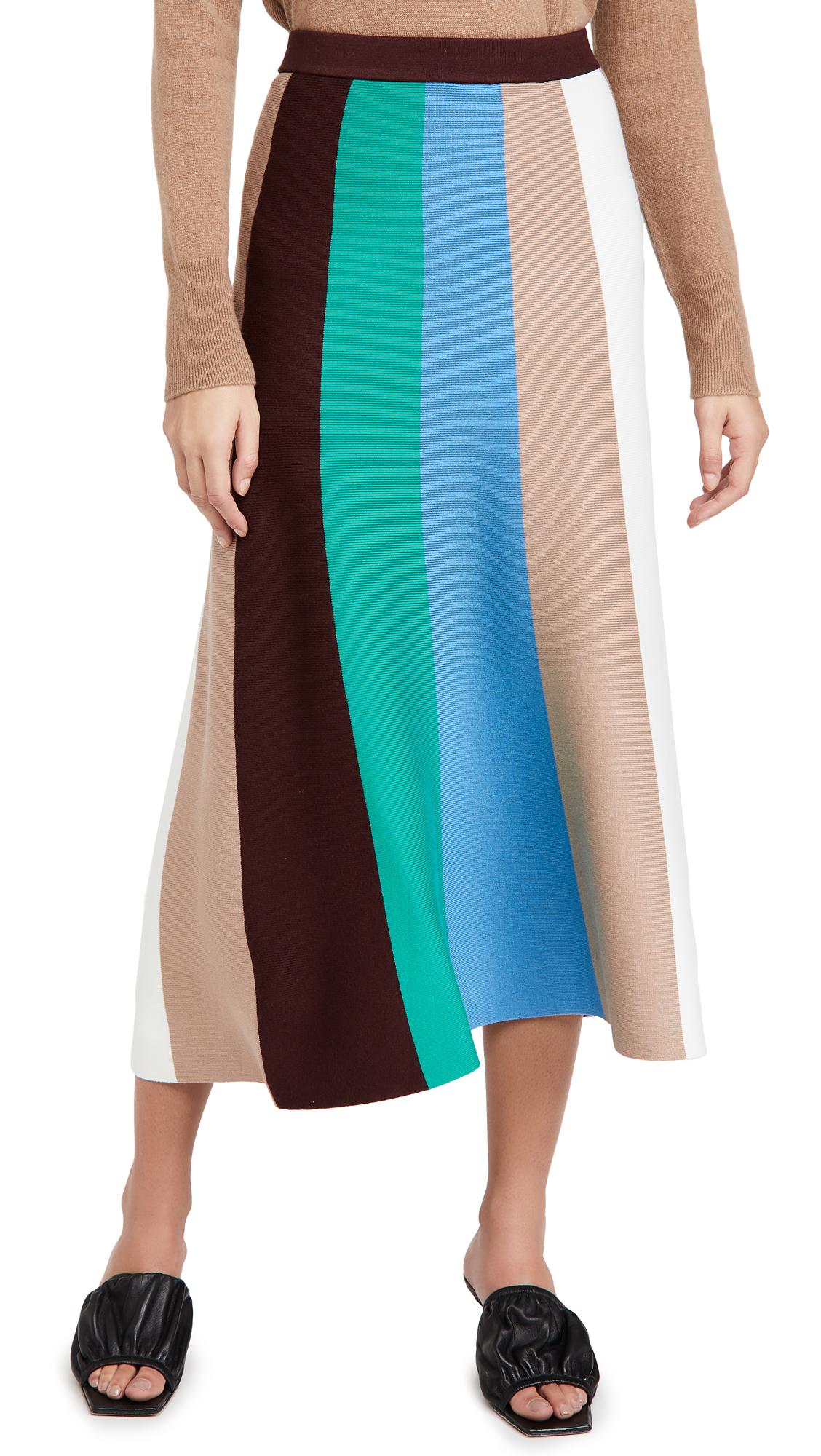 Victoria Victoria Beckham Block Stripe Knitted Skirt