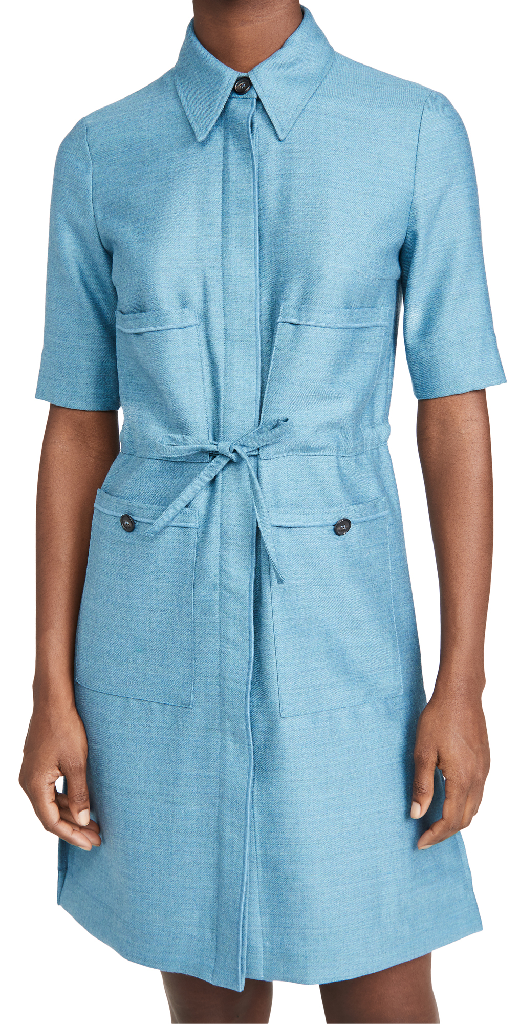 Victoria Victoria Beckham Patch Pocket Flannel Wool Shirtdress