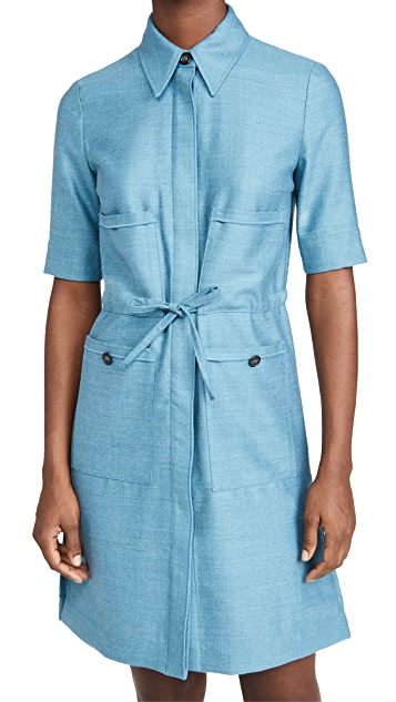 Victoria Victoria Beckham 贴袋法兰绒羊毛衬衣式连衣裙