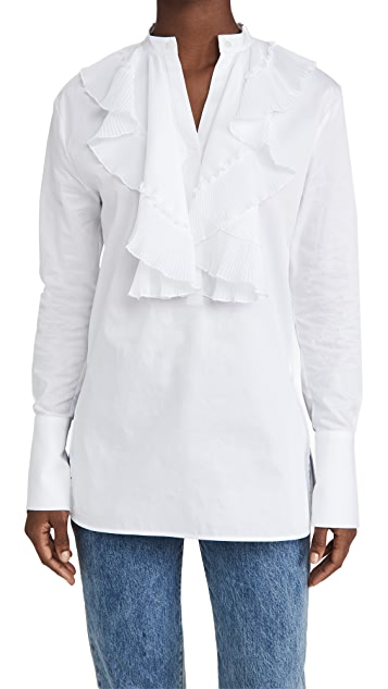 Victoria Victoria Beckham Pleated Bib Cotton Shirt