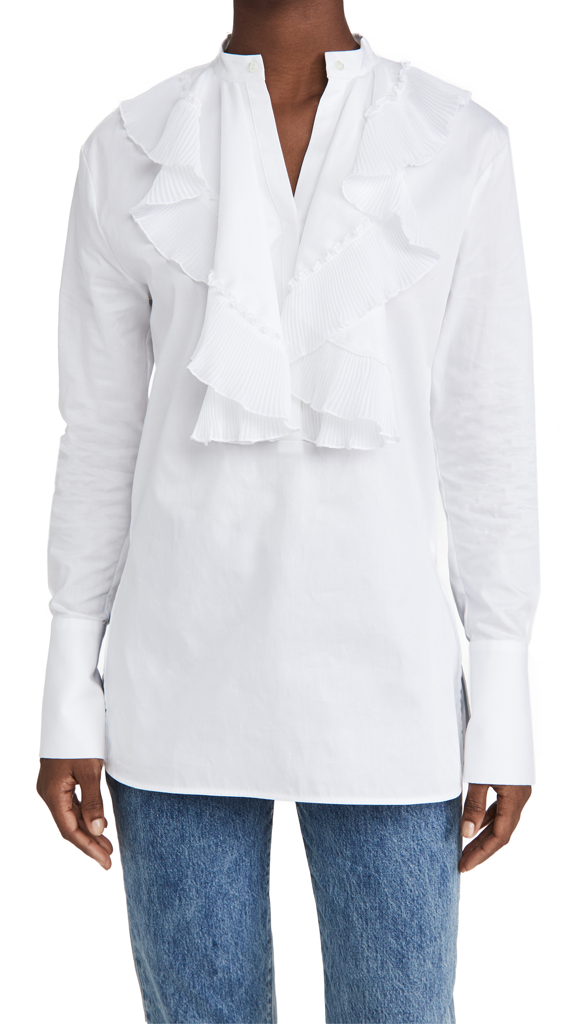 Victoria Victoria Beckham Pleated Bib Organic Cotton Shirt