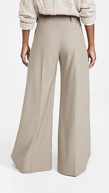 Victoria Victoria Beckham Wide Leg Wool Gaberdine Trousers
