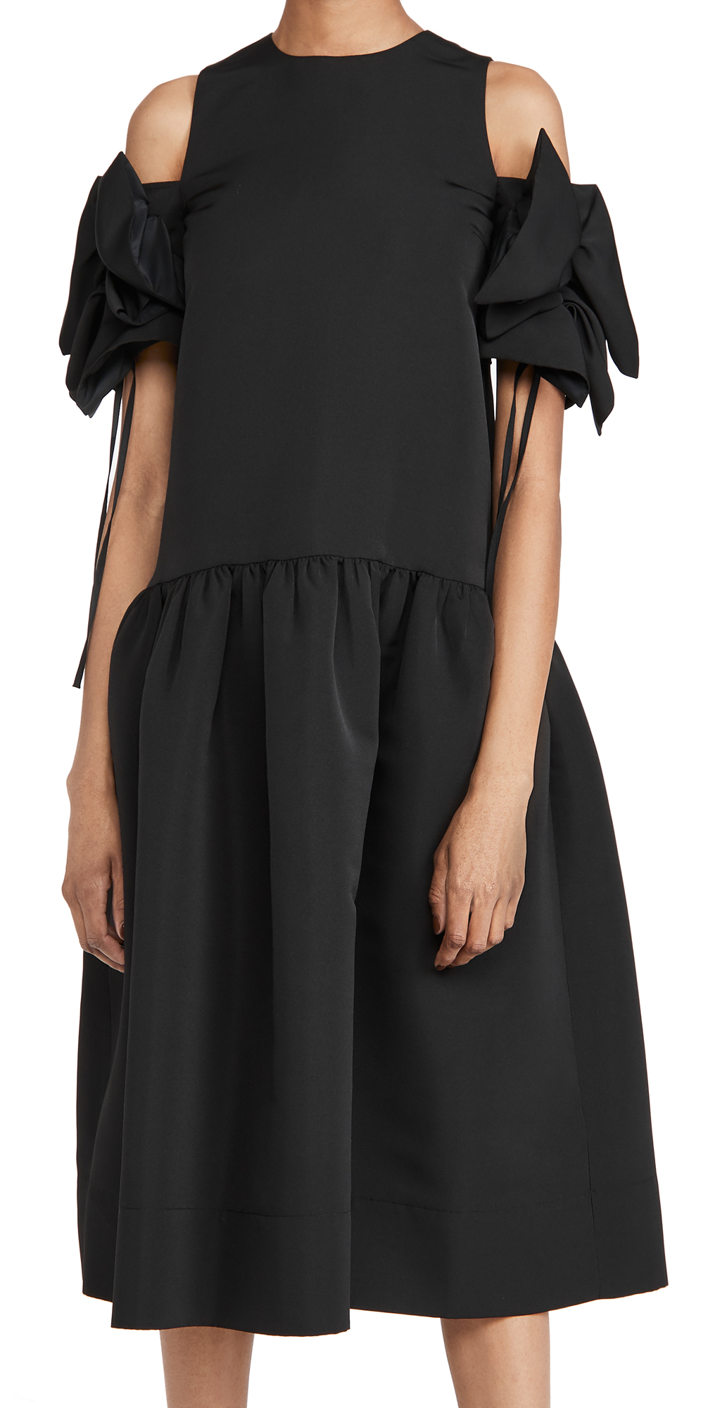 Victoria Victoria Beckham Gathered Detail Cold Shoulder Dress
