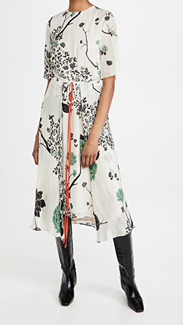 Victoria Victoria Beckham Printed Crepon Tie Front Dress