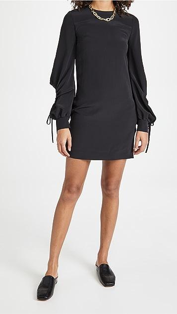 Victoria Victoria Beckham 抽绳衣袖缎面梭织布直筒连衣裙