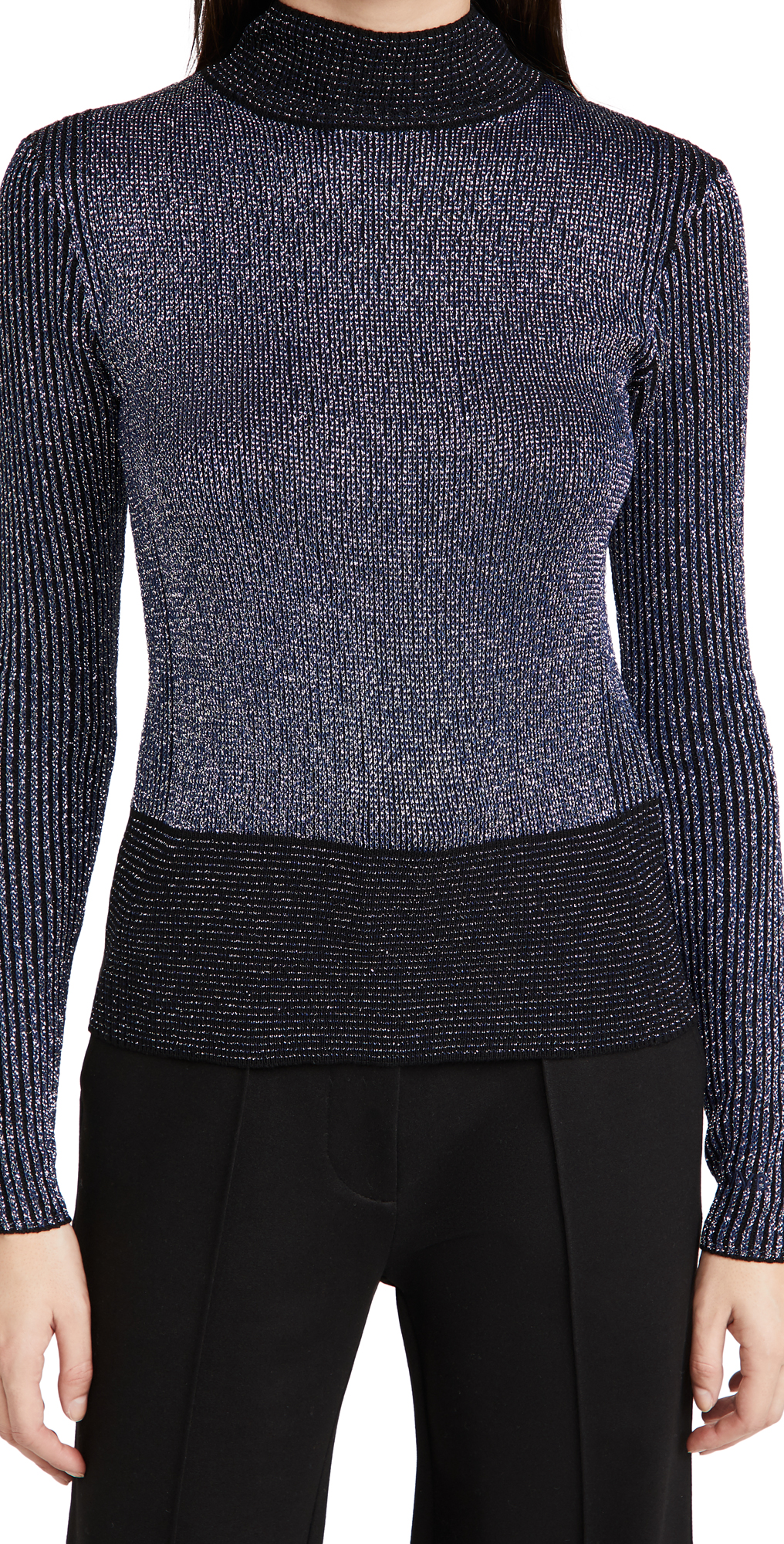 Victoria Victoria Beckham Fitted Ribbed Merino Metallic Sweater