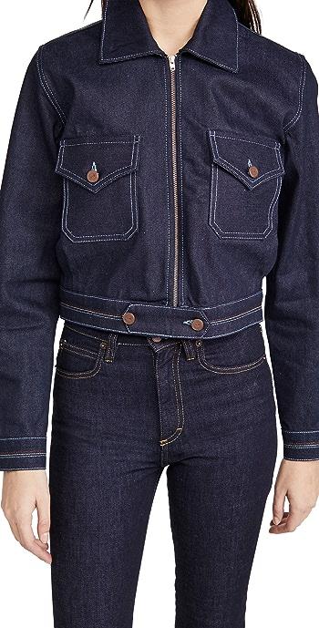 Victoria Victoria Beckham Rainbow Stitch Denim Harrington Jacket - Raw