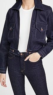 Victoria Victoria Beckham Harrington 彩虹色缝线牛仔布夹克