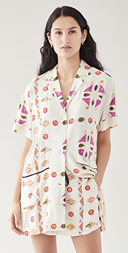 Victoria Victoria Beckham - Short Sleeve Patch Pocket Paper Shirt