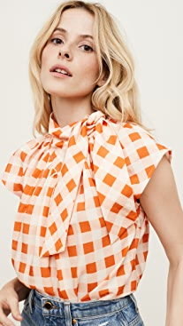 Victoria Victoria Beckham Gingham Check Bow Detail Top