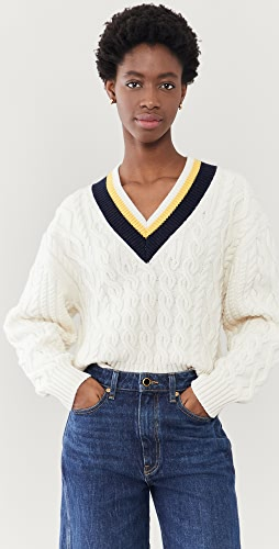 Victoria Victoria Beckham - Cropped V Neck Cable Sweater
