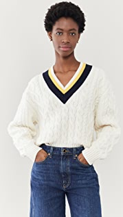 Victoria Victoria Beckham Cropped V Neck Cable Sweater
