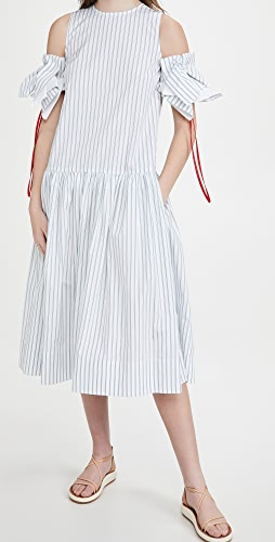 Victoria Victoria Beckham - Gathered Off Shoulder Melange Stripe Dress