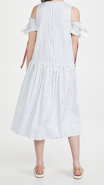 Victoria Victoria Beckham Gathered Off Shoulder Melange Stripe Dress