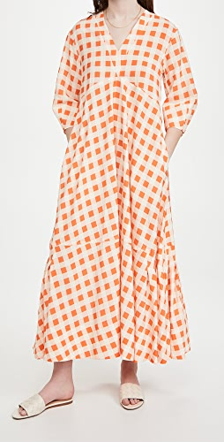 Victoria Victoria Beckham - Bell Sleeve Gingham Check Dress