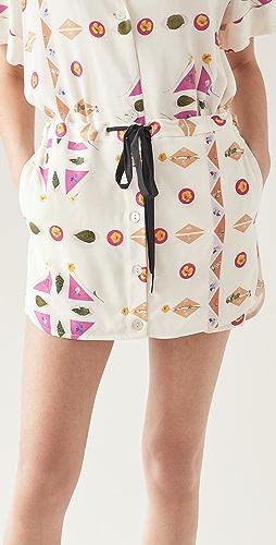 Victoria Victoria Beckham - Pressed Botanicals 印花罗缎半身裙