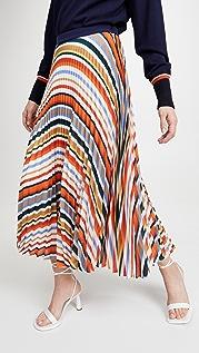 Victoria Victoria Beckham Pleated Stripe Skirt