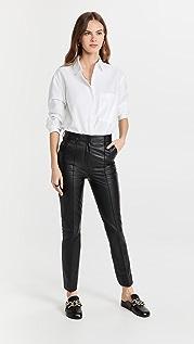 Victoria Victoria Beckham Straight Leg Leather Trousers
