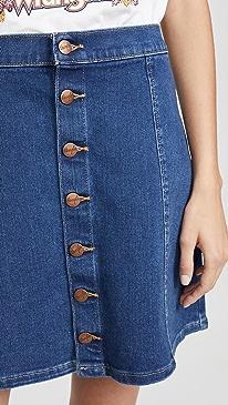 Button Front Miniskirt