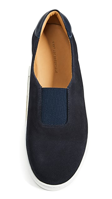 WANT LES ESSENTIELS Tesla Suede Slip On Sneakers