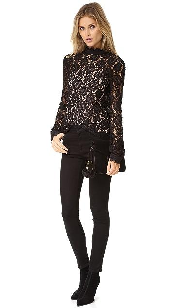 WAYF Berklin Lace Long Sleeve Top