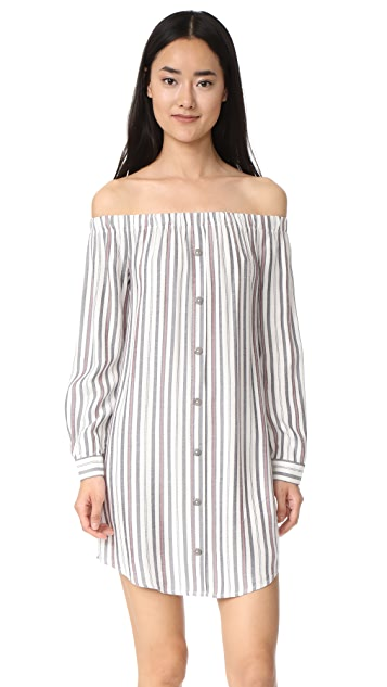 WAYF Rachel Off Shoulder Shirtdress