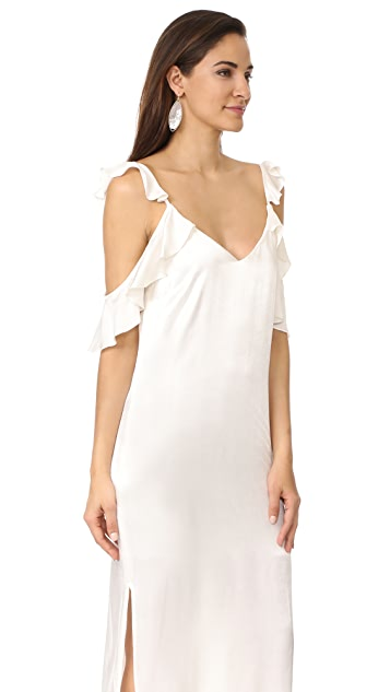 WAYF Costa Ruffle Cold Shoulder Slip Dress