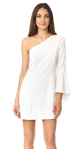 WAYF One Shoulder Bell Sleeve Dress