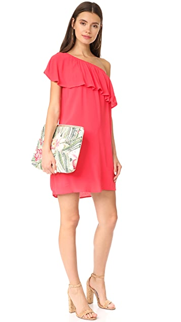 WAYF Conway One Shoulder Ruffle Dress