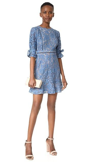WAYF Rene Tie Sleeve Open Back Lace Mini Dress