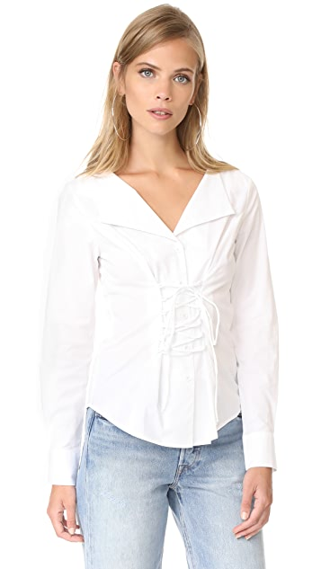 WAYF Molly Lace Up Blouse